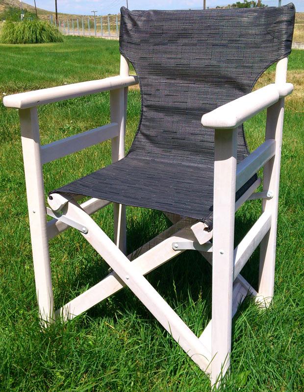 Καρέκλα Σκηνοθέτη λευκή εμποτισμού   με συνθετικό διάτρητο κάθισμα