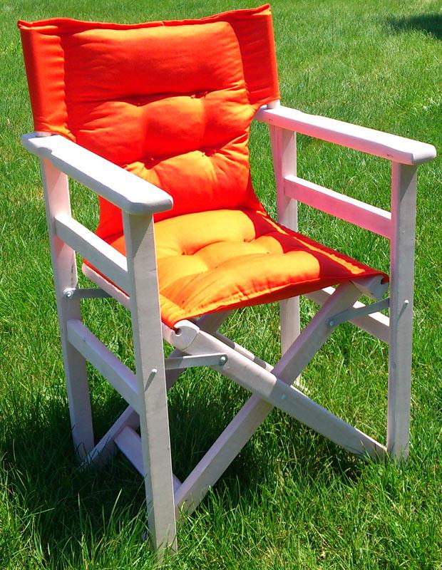 Καρέκλα Σκηνοθέτη λευκή εμποτισμού με υφασμάτινο  κάθισμα με γέμιση